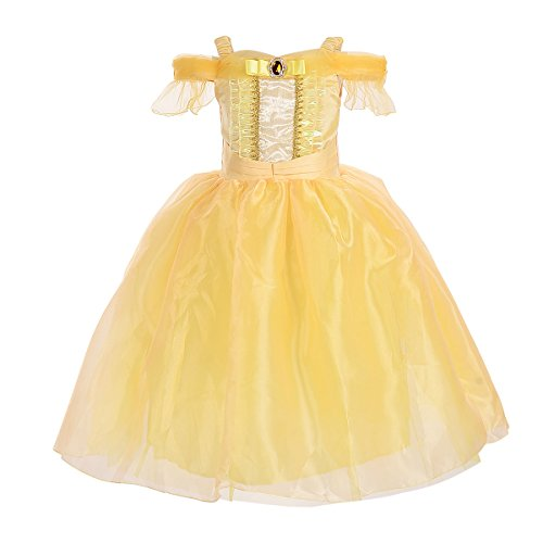 SMITH SURSEE Princess Belle Off Shoulder Layered Costume Dress up for Little Girl ()