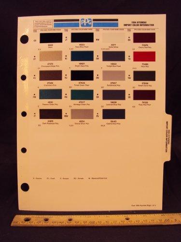 1994 94 HYUNDAI IMPORT Elantra, Excel, Scoupe, & Sonata Paint Colors Chip Page