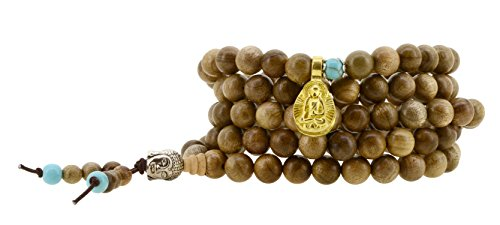 Handmade Tibetan Zen Elastic String 8mm Wood Imitation Turquoise 108 Buddha Head Prayer Beads Yoga Meditation Wrap Bracelet Mala with Removable Charms…