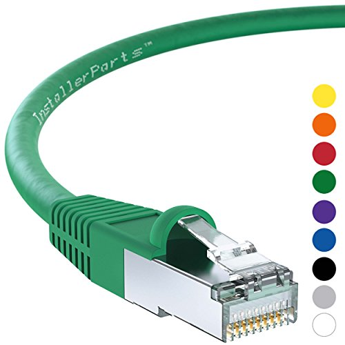 InstallerParts 0.5 Ft CAT 6 Shielded (SSTP) Patch Cable Molded Green - Professional Series - 50 Micron Gold Plated RJ45 Connectors - Ethernet Data Network -
