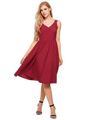 ACEVOG Womens Sleeveless Lace Patchwork V-Neck A Line Swing High Waist Dress