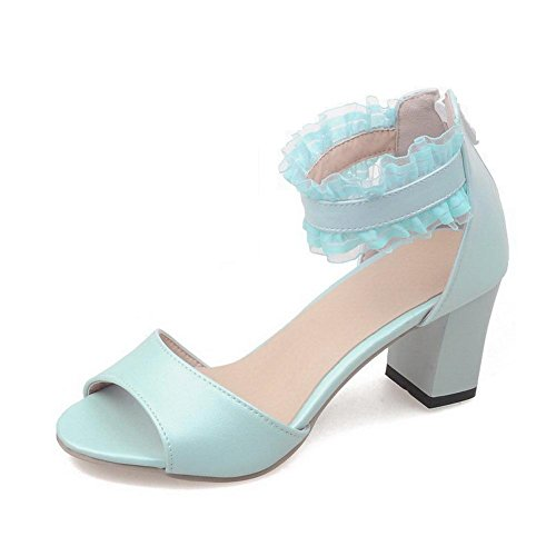 AmoonyFashion Womens Zipper Open Toe Kitten Heels Solid Sandals Blue PT2nvA