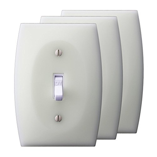 LUMINNO GlowaSwitch ST1G 3-Pack Toggle Luminescent Insulating Light Switch Plates Glow-in-the-Dark