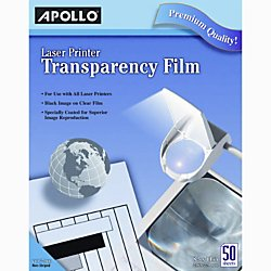 Apollo(R) Laser Printer Transparency Film, 8 1/2in. x 11in., Box Of 50 by Apollo
