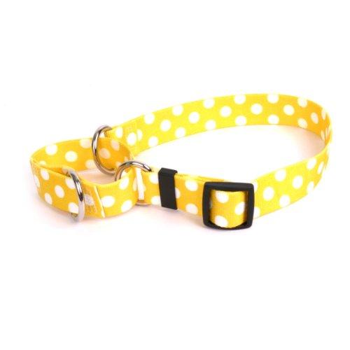Lemon Polka Dot Martingale Control Dog Collar - Size Small 14