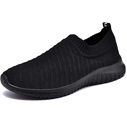 konhill Women's Athletic Walking Shoes - Breathable Casual Tennis Slip on Sneakers 6.5 US Black, 37