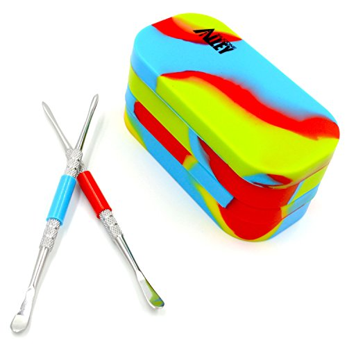 SILICONE ALLEY Nonstick Block Kit - Stainless Steel Carving Tool (2) + Tie Dye-Colored Multi-Compartment Wax Container (2) (Hash Wax)