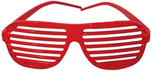 Red Shutter Shades Slotted Sunglasses Fashion - Red Glasses Shades