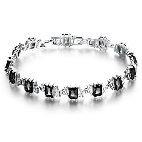 Fate Love Exquisite Sapphire/Black Onyx Square Cubic Zirconia Tennis Bracelet White Gold Plated