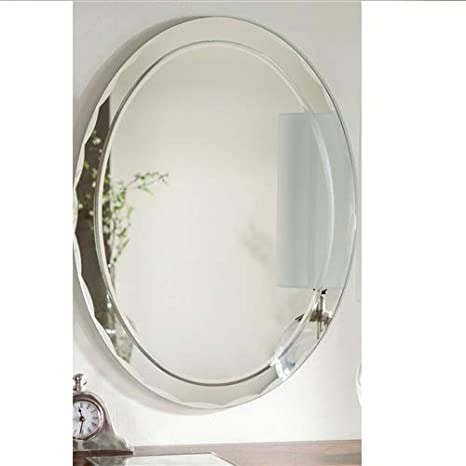 Svitlife Oval Frameless Bathroom Vanity Wall Mirror With Beveled Edge  Scallop Border Mirror Wall Vanity Bathroom