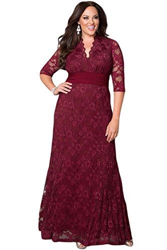 Neue Damen Plus Größe Burgund Lace Abendkleid besonderen Anlass Ball ...