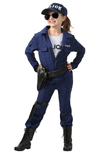 Girl's Tactical Cop Jumpsuit Costume Medium