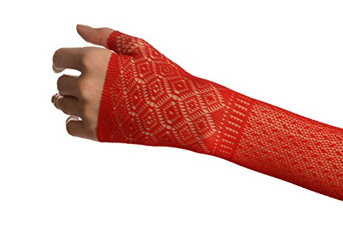 Red Stretchy Crochet Lace Fingerless Evening Gloves - Rouge Gants Taille Unique