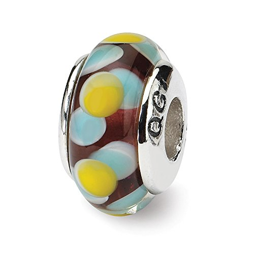 925 Sterling Silver Charm For Bracelet Brown/blue/yellow Hand Blown Glass Bead Glas H Fine Jewelry Gifts For Women For Her