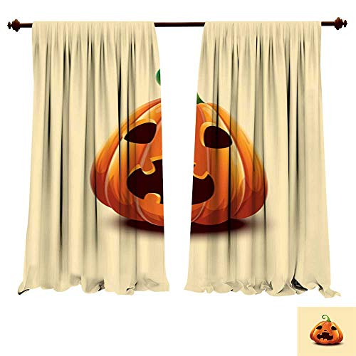 DragonBuildingMaterials Blackout Room Darkening Curtains Happy Halloween Realistic Vector Halloween Pumpkin Scared face Halloween Pumpkin Isolated on Light Background Picture Print -