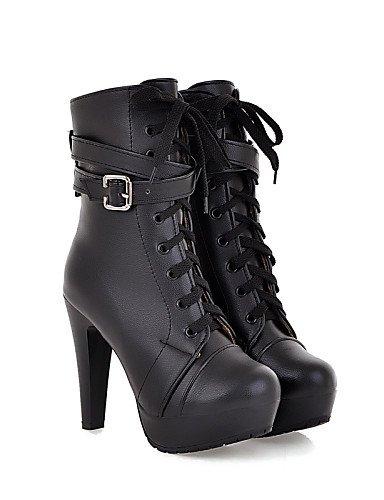 Punta Xzz negro Cn39 Black Casual us8 Cerrada Black Stiletto Cuero Tacón Vestido Tacones Botas us6 Uk4 Redonda Uk6 Mujer De Eu39 Zapatos Sintético Cn36 Eu36 rFqr6Y