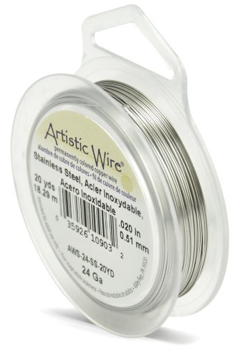 Artistic Wire Beadalon AWS-24-SS-20YD 24 Gauge, Stainless Steel, 20-Yard
