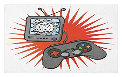 Lunarable Boy's Room Doormat, Video Games Themed Design in Retro Style Gamepad Console Entertainment, Decorative Polyester Floor Mat with Non-Skid Backing, 30 W X 18 L Inches, Orange Grey White by Lunarable (Image #1)