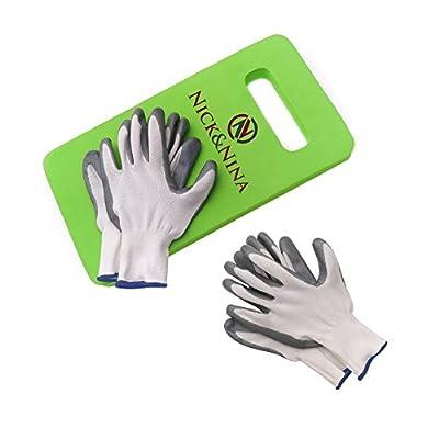 "Gardening Gloves Women and Men | 2 Pair | Includes a Bonus Foam 16""x7"" Garden Kneeling Pad | Work Gloves | Slip-Resistant for Landscaping Recycling Construction"