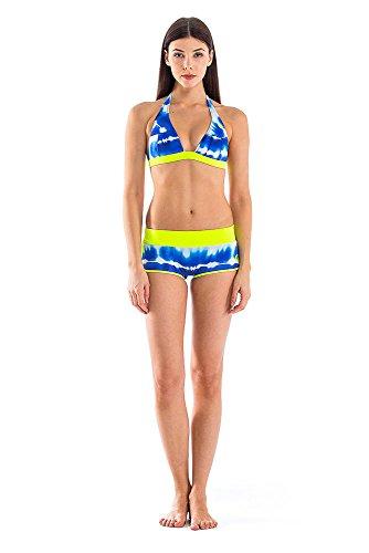 GLIDESOUL de la mujer 305bt1020–�?1X S Bikini Tie Dye Tops, Blue Print/limón, talla XS)