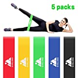 Resistance Loop Exercise Bands Set of 5 for Women Men Legs Butt Arms Shoulders Home Workout Yoga Rehab Physical Therapy with Carry Bag