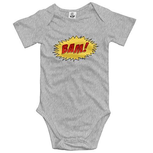 Baby Climbing Clothes Set BAM Logo Bodysuits Romper Short Sleeved Light Onesies Gray ()
