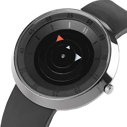 Reloj de Hombre, Creativo Reloj de Pulsera de Acero Inoxidable con Correa de Goma, Color Negro, para Hombres y Mujeres, Reloj de Pulsera Deportivo Casual.