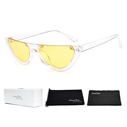 SamuRita Bold Half Lens Frame Cat Eye Sunglasses Mod Tinted Retro Shades(Yellow+Clear Frame)