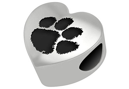 Clemson Tigers Bead - Sterling Silver Heart Fits Most European Style Charm Bracelet (Silver Clemson Sterling Charm Tigers)