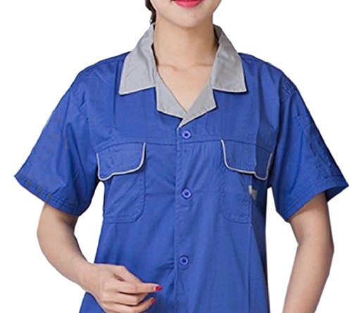 (Yayu Unisex Short-sleeved Labor Protection Uniforms Set Jacket And Pant 4 S)