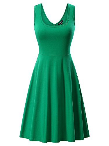 FENSACE Womens A Line Tank Casual Dresses For Juniors, Green-2, Small