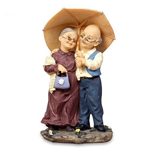 DreamsEden Loving Elderly Couple Figurines, Old Age Life Resin Home Decoration with Gift Card for Anniversary Wedding (Umbrella)
