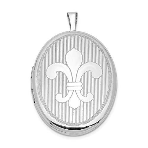 26mm Fleur De Lis Oval Photo Pendant Charm Locket Chain Necklace That Holds Pictures Fine Jewelry For Women Gift Set ()