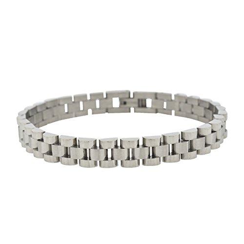 Shopjw Men's Stainless Steel Thin Watch Style Link Bracelet, 8.25