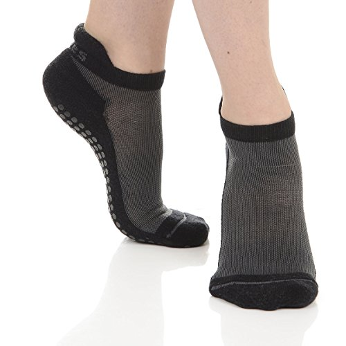 Great Soles Women's Yoga Pilates Barre Performance Sport Grip Sock (Extra Small, Black) (Adult Go Ped)