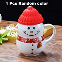 Satyam Kraft Ceramic Snow Man Mug With Silicon Lid, 300 ml/ mug/diwali gift /diwali gifts for family and friends /diwali gift items/mugs for coffee /coffee mugs set /mugs for friends /mugs for kids / valentine gifts for girlfriend valentine gift for boyfriend love