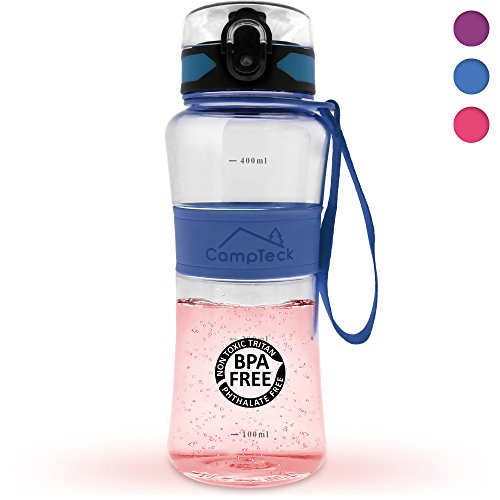 CampTeck Leak Proof BPA Free Sports Drinking Water Bottle with Carry Strap - 450ml Blue