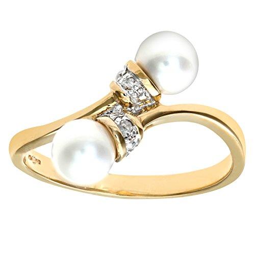 Bague Femme - Or jaune (9 cts) 1.7 Gr - Perle - Diamant 0.005 Cts