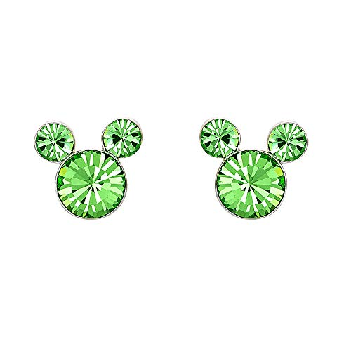 - Disney Silver Plate Mickey Mouse Crystal Birthstone Stud Earrings (August Peridot Green Crystal)