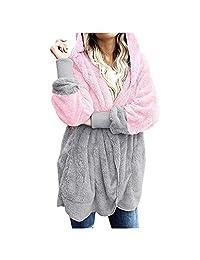 VEZAD Store Women's Winter Warm Faux Fur Coat Long Sleelve Cardigan Boyfriend Shearling Fuzzy Jacket with Pockets