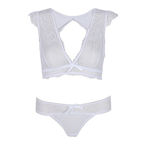 Baqijian Women Sexy Floral Lace Sheer Thongs Panty Lingerie Underwear Bra Set White 80B