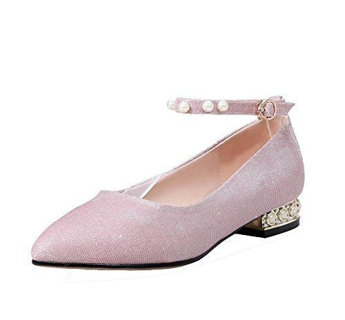 Odomolor Women's Pointed Closed Toe Blend Materials Solid Low-Heels Pumps-Shoes Pink R8SYj