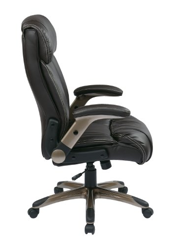 Office Star Executive Eco Leather Chair with Adjustable Padded Flip Arms and Cocoa Coated Base, Espresso