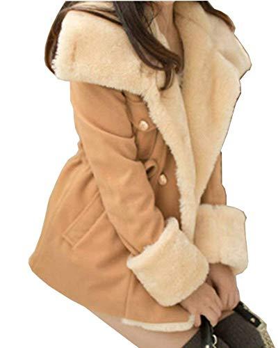 Con Giacca Costume Coat Cappotto Confortevole Breasted Con Manica Pelliccia Caldo Cappuccio Laterali Tasche Double Lunga Kaki Coulisse Cappotto Huixin Collo Donna Lana Invernali wAUfWdXXq