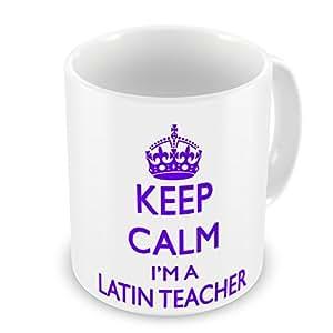 Keep Calm I 'm un profesor de latín taza, color morado