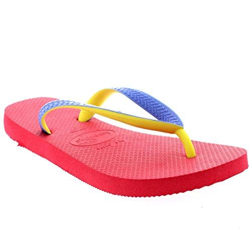 Damen Havaianas Top Mix Lässig Strand Sommer Urlaub Flip Flops Sandalen Neon Rosa