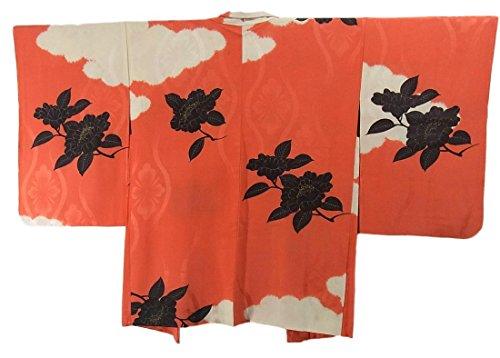 アンティーク 羽織  雲文に椿のような花 裄62cm 身丈81cm 正絹