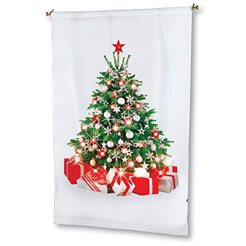 Curtain Panels Hanging (Collections Etc Christmas Tree Lighted Curtain Panel - Hanging Tree Decoration, 69 inches Tall)