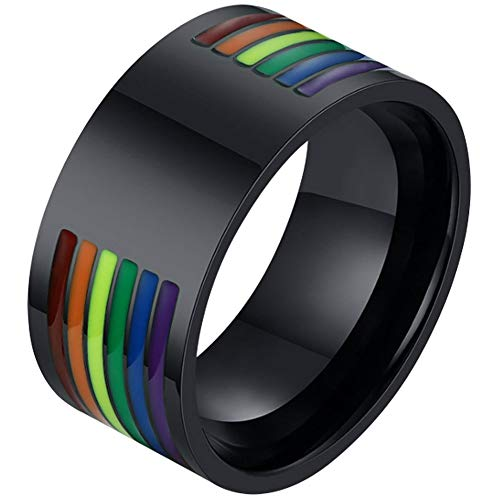 Steel Ring Stripe Stainless - Nanafast Stainless Steel Gay Pride Rings LGBT Enamel Rainbow Stripe Lesbian Pride Ring Wedding Band for Men and Women Style 1 Size 7