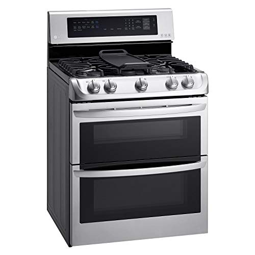 LG LDG4315ST 30″ Freestanding Double Oven Gas Range with 6.9 cu. ft. Capacity, 5 Burners, Griddle, Probake Convection, Glass Touch Controls and Door Lock, in Stainless Steel